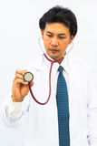Portrait of confident young medical doctor stock images