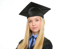 Portrait of confident woman in graduation gown Stock Image