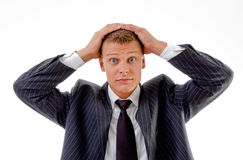 Portrait of confused businessman Royalty Free Stock Images