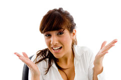 Portrait of confused female Stock Photography