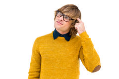 Portrait of confused hipster Stock Photos