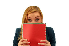 Portrait of confused surprised young woman royalty free stock photo