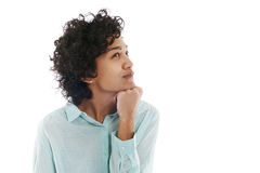 Portrait of confused and uncertain hispanic woman. Portrait of confused and uncertain hispanic business woman on white background stock photo