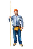 Portrait of construction builder isolated on white. Stock Photography
