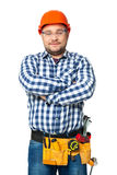 Portrait of construction builder isolated on white. Royalty Free Stock Photos