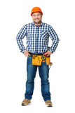 Portrait of construction builder isolated on white. Royalty Free Stock Images