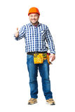 Portrait of construction builder isolated on white. Stock Images
