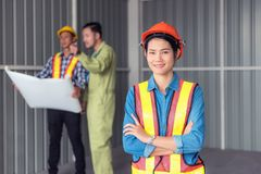 Portrait of construction team work, Site visit concept Stock Photography