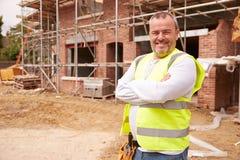 Portrait Of Construction Worker On Building Site Stock Photos