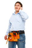 Portrait of construction worker speaking phone Royalty Free Stock Photography