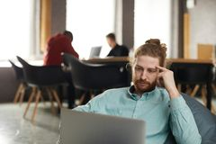 IT Specialist Working in Bean bag. Portrait of contemporary bearded  men sitting in bean bag and using laptop, copy space royalty free stock photo