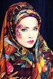 Portrait of contemporary noblewoman with face art Royalty Free Stock Photo