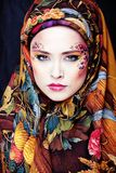 Portrait of contemporary noblewoman with face art Stock Image