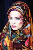 Portrait of contemporary noblewoman with face art creative Royalty Free Stock Images