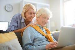 Contemporary Senior Man Using Laptop royalty free stock photography