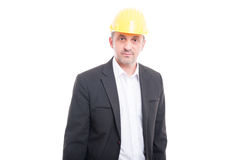 Portrait of contractor or architect standing with straight face Stock Photos