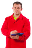 Portrait of contractor with clipboard isolated on white backgrou Royalty Free Stock Image