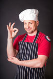 Portrait of cook with gesture okay Royalty Free Stock Photo