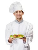 Portrait of cook with salad dish Royalty Free Stock Photography