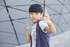Portrait of cool Asian kid posing outdoors Royalty Free Stock Photo
