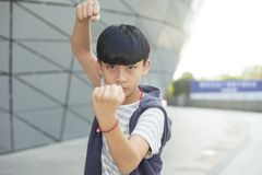 Portrait of cool Asian kid posing outdoors Stock Images