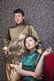 Portrait of Cool Couple in Chinese Traditional Clothing Stock Photos