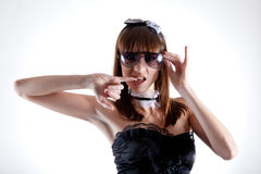 Portrait of cool girl in big sunglasses Stock Images