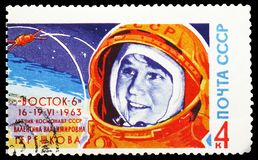 Portrait of cosmonaut V.V. Tereshkova and rocket, Second Group Spaceflight serie, circa 1963. MOSCOW, RUSSIA - MAY 25, 2019: Postage stamp printed in Soviet royalty free stock images