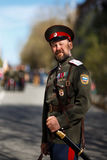Portrait of cossack. Russian cossack in parade of victory WWII Stock Photos