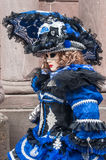 Portrait of Costumed woman at the Venetian Parade in Riquewihr in Alsace. RIQUEWIHR - France - 1 July 2017 - portrait of Costumed woman at the Venetian Parade in Royalty Free Stock Images