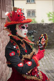 Portrait of Costumed woman at the Venetian Parade in Riquewihr in Alsace. RIQUEWIHR - France - 1 July 2017 - portrait of Costumed woman at the Venetian Parade in Stock Photos