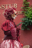 Portrait of Costumed woman at the Venetian Parade in Riquewihr in Alsace. RIQUEWIHR - France - 1 July 2017 - portrait of Costumed woman at the Venetian Parade in Stock Photography