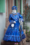 Portrait of Costumed woman at the Venetian Parade in Riquewihr in Alsace. RIQUEWIHR - France - 1 July 2017 - portrait of Costumed woman at the Venetian Parade in Royalty Free Stock Photo