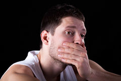 Portrait of coughing man Stock Photo