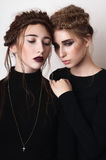 Portrait of couple beauty girls with braids Royalty Free Stock Photos