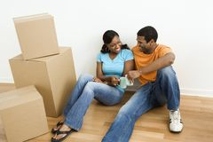 Portrait of couple with boxes. Royalty Free Stock Photo