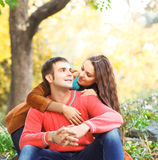 Portrait of couple enjoying golden autumn Royalty Free Stock Image
