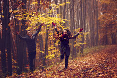 Portrait of couple enjoying golden autumn Stock Image