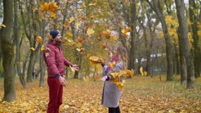 Portrait of couple enjoying golden autumn season. Playful carefree couple having fun on romantic date, throwing yellow fallen maple leaves up in the air while stock video footage