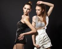 Portrait of couple fashion woman models Stock Photography