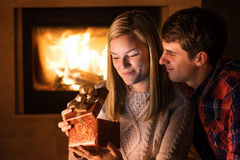 Portrait of couple with gift boxe. Stock Photos
