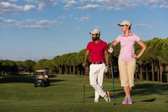 Portrait of couple on golf course Royalty Free Stock Photography