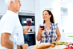 Portrait of a couple having a glass of red wine. At home royalty free stock photos