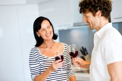 Portrait of a couple having a glass of red wine Royalty Free Stock Photos