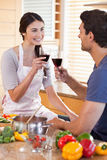 Portrait of a couple having a glass of wine Stock Photos