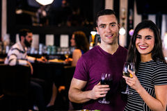 Portrait of couple having a glass of wine Stock Photography