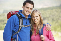 Portrait Of Couple On Hike In Beautiful Countryside Stock Photos