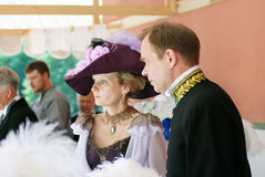Portrait of a couple in historical costumes. royalty free stock images