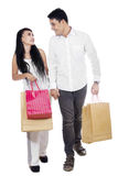 Portrait of couple hold shopping bag Stock Photos