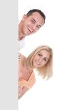 Portrait of couple holding blank placard Royalty Free Stock Photography